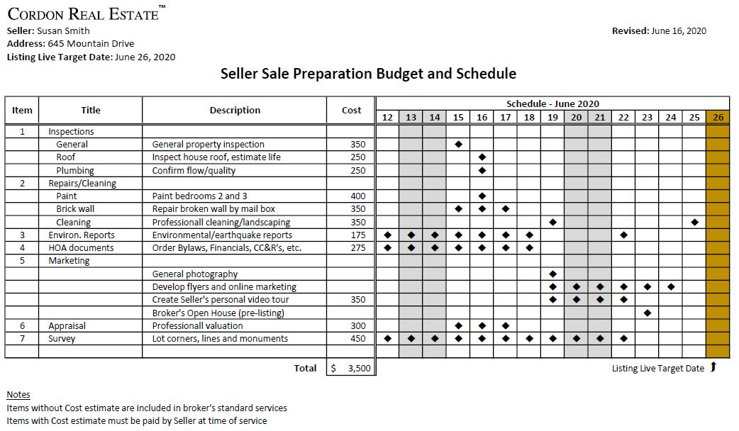 Seller Budget and Schedule